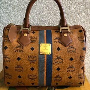 Authentic MCM Cognac Visetos Boston Bag